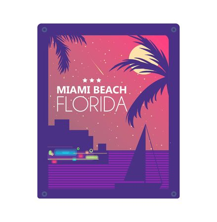 Miami summer concept vector graphic design for print