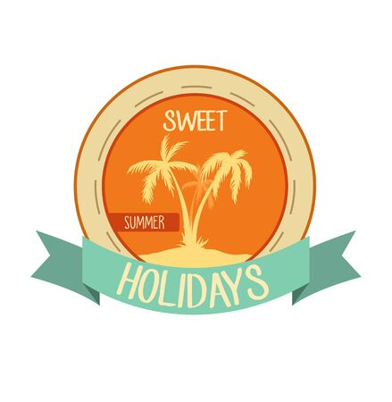 Orange old vintage emblem for web using or printing. Vector illustration with palm trees. Ilustração