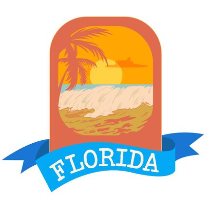 Surf Florida typography , tee shirt graphic emblem, vector illustration. Ilustração