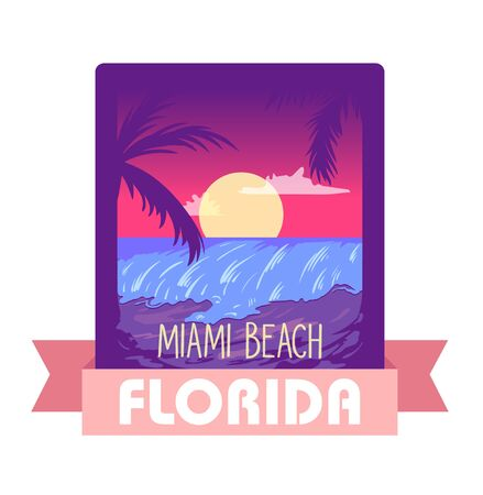 Florida Miami summertime - vector illustration concept in retro vintage graphic style for t-shirt, print, poster, brochure. Palms, sun, summer travel vacation