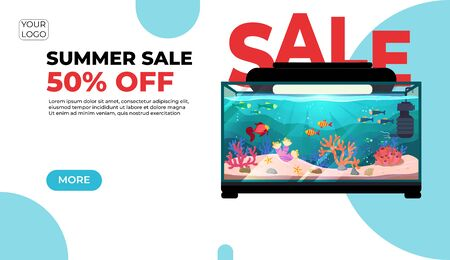 Summer sale, modern web banner in paper cut style for your website with round aquarium with fish