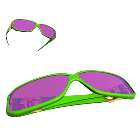 Colourful fancy colored sun glasses on white background Stock Photo - 13246772