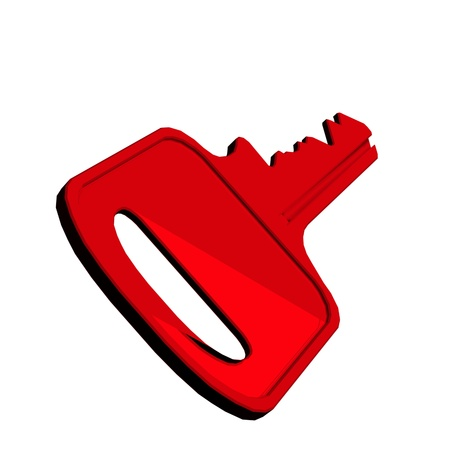 Red key in isolationon a white background Stock Photo - 13254283