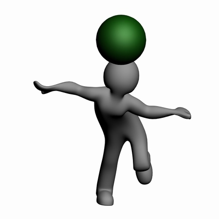 3D man playing with the fate of both bandy Stock Photo - 13549659