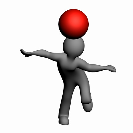 3D man playing with the fate of both bandy Stock Photo - 13549660