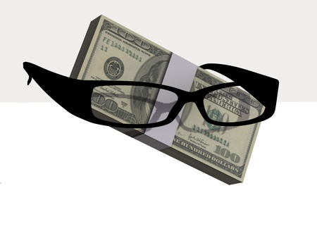 Money and optical eyeglasses on white background Stock Photo - 17510233