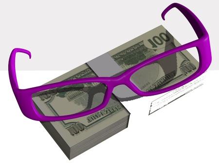 Money and optical eyeglasses on white background Stock Photo - 17510256