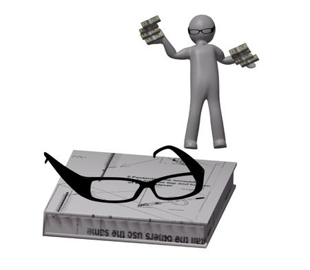 3d men in optical eyeglasses on white background  Stock Photo - 17480281