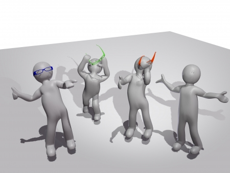 3d men and optical eyeglasses. photo