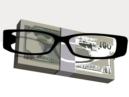 Money and optical eyeglasses on white background Stock Photo - 17510306