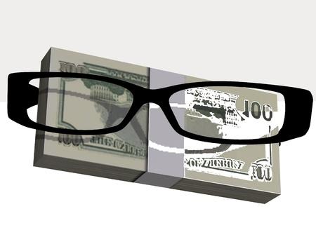 Money and optical eyeglasses on white background Stock Photo - 17510306
