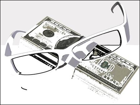 Money and optical eyeglasses on white background Stock Photo - 17510314