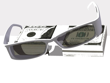 Money and optical eyeglasses on white background Stock Photo - 17510304