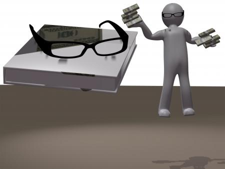 optometrist: 3d men in optical eyeglasses on white background