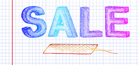 negligent: sketch sale, multi-colored inscription, vector illustration, negligent inscription