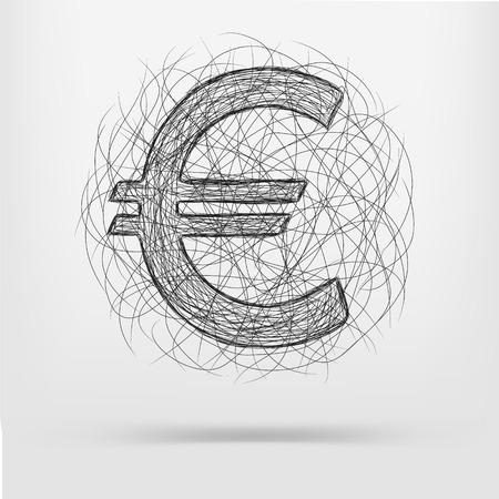 euro teken: euro teken pictogram schets
