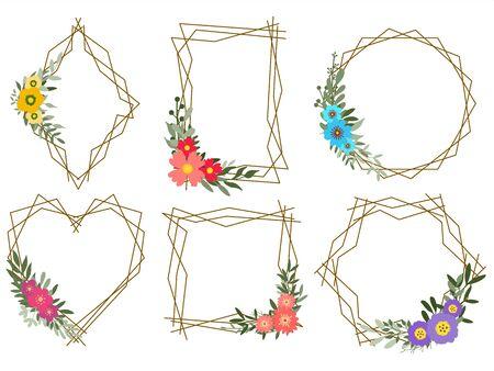 Set of floral geometrical frames