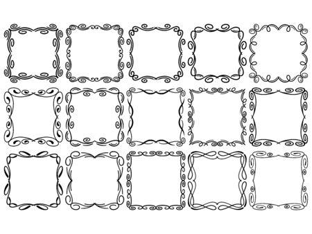 Square vector frames, square doodle frame collection Illusztráció