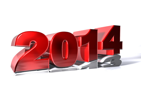 New 2014 year pushing 2013 Stock Photo - 23267443