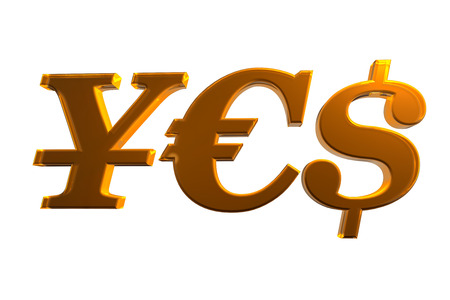Main currencies creating word YES, isolated Stock Photo