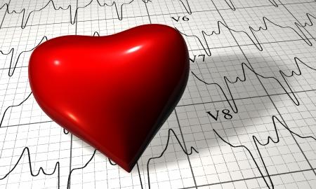 Symbol of heart lying on cardiogram chart