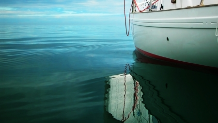 sailing in calm weather Stock Photo