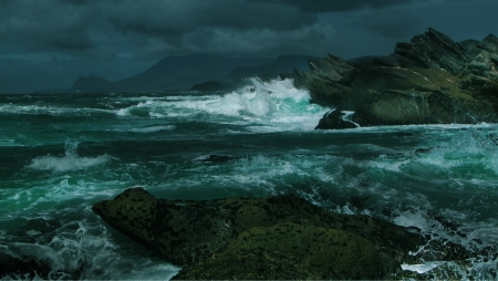 squall:  Stormy weather at ocean shore