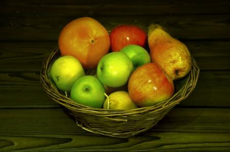 Fruit basket on wooden desk