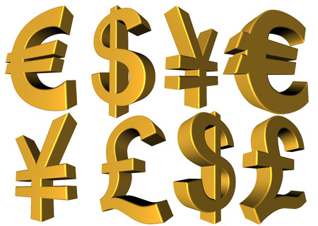Main trade currency symbols on a white background from different angles, cut-out, includes euro sign, yen, us dollar and british sterling