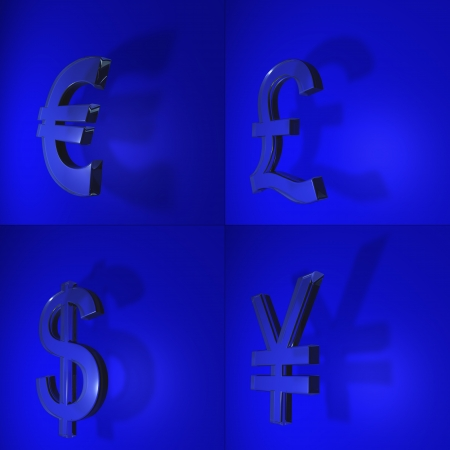 4 separate images of main trade currency symbols on a blue background with shadow, includes euro sign, yen, us dollar and british sterling   Stock Photo