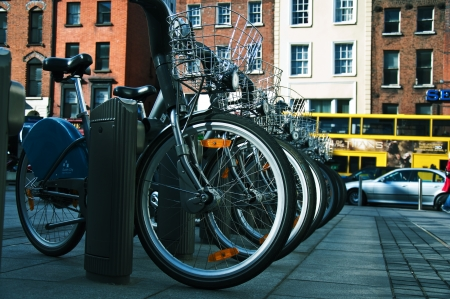 Row of Dublin city bikes on a parking in city centre