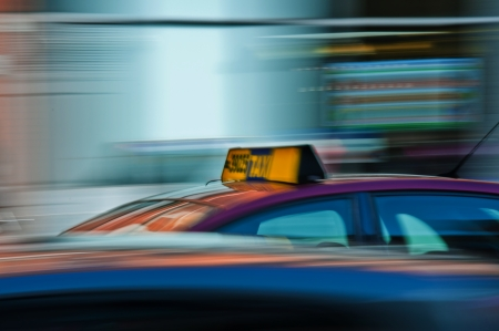 Blurred taxi on the way