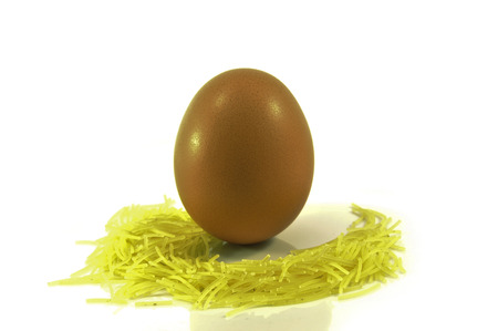 An egg surrounded by baby pasta Cut-out