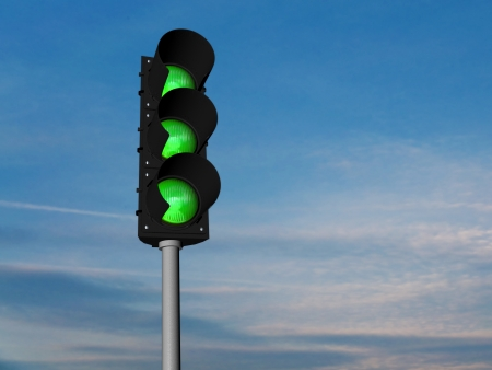 Traffic lights, all green Stock Photo