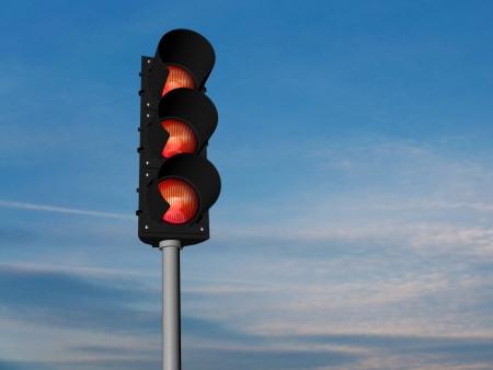 Traffic lights, all red