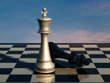 Chess  end of battle Stock Photo