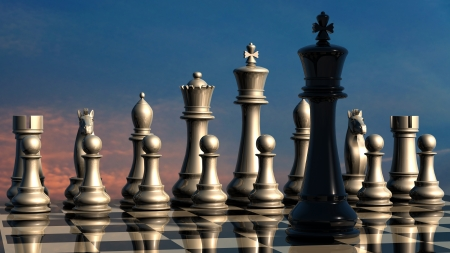 Chess  before battle Stock Photo
