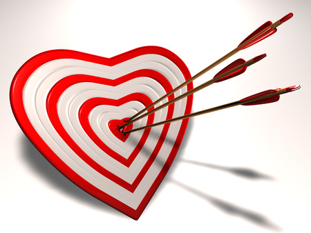 Heart shaped target with Cupid arrows in it  Stock Photo