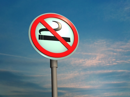 Sign No smoking� against sky
