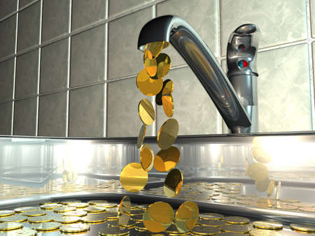 Conceptual illustration of a dripping tap with flowing cash