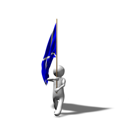 3D man marching with Scottish flag. Stock Photo