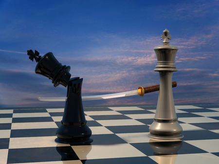 the opponent: End of the battle: Chess King is being defeated his opponent.