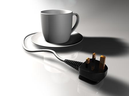 Plug-in Cup of tea with UK plug. Stock Photo - 33882909
