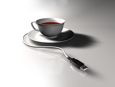 Plug-in Cup of tea with USB plug.
