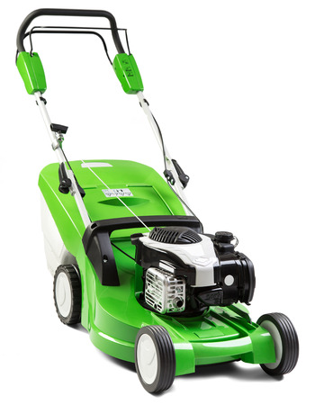 lawn mower: Studio shot of green lawnmower.