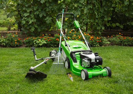 Green lawnmower, weed trimmer, rake and secateurs in the garden.