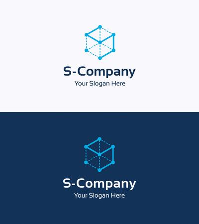 logotipo de construccion: Cubo Frame plantilla de logotipo 3D con la letra S Vectores