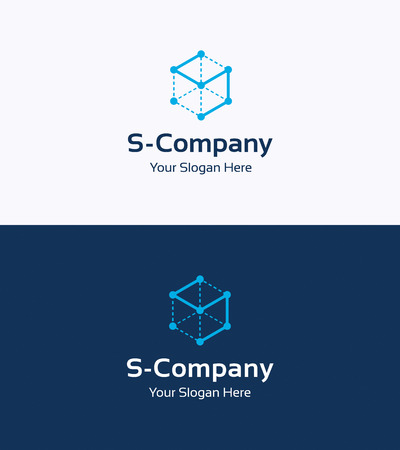 Frame cube 3D logo template with letter S