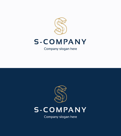 Frame 3D logo template with letter S Ilustração