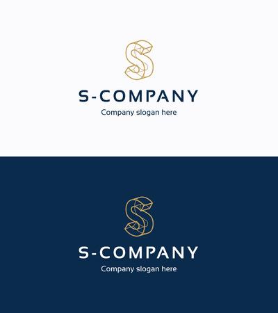 tipos de letras: Frame plantilla de logotipo 3D con la letra S Vectores
